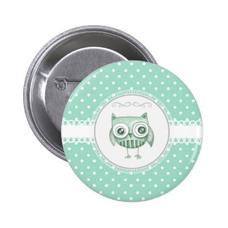 Beautiful Owl with Polka Dots in Teal Pinback Buttons