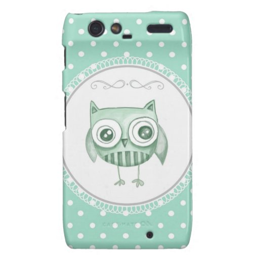 Beautiful Owl with Polka Dots in Teal Droid RAZR Case