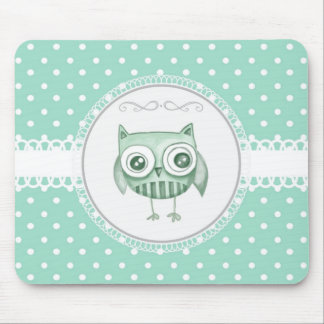 Beautiful Owl with Polka Dots in Teal Mouse Pad