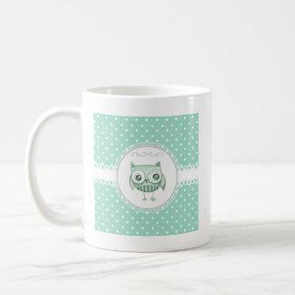 Beautiful Owl with Polka Dots in Teal Mug