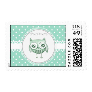 Beautiful Owl with Polka Dots in Teal Postage Stamps