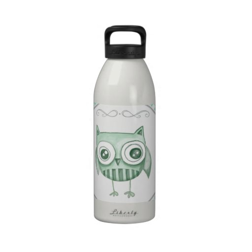 Beautiful Owl with Polka Dots in Teal Water Bottles