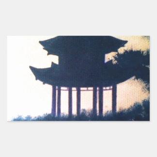 Beautiful Pagoda Silhouette Art Scenery Landscape Rectangular Sticker