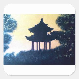 Beautiful Pagoda Silhouette Art Scenery Landscape Square Sticker