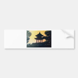 Beautiful Pagoda Silhouette Art Sunset Landscape Bumper Sticker