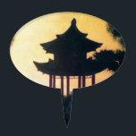 "Beautiful Pagoda Silhouette Art Sunset Landscape Cake Topper<br><div class=""desc"">Beautiful Pagoda Silhouette Art Sunset Landscape buddhist, buddhism, zen, yoga, scenery, asia, asian, beautiful, china, chinese, cool, evening, hokusai, japan, japanese, meadow, oriental, print, sunshine, sunshine, woodprint</div>"