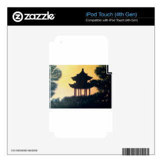 Beautiful Pagoda Silhouette Art Sunset Landscape iPod Touch 4G Decals