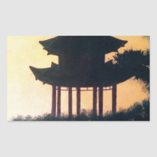 Beautiful Pagoda Silhouette Art Sunset Landscape Rectangular Sticker