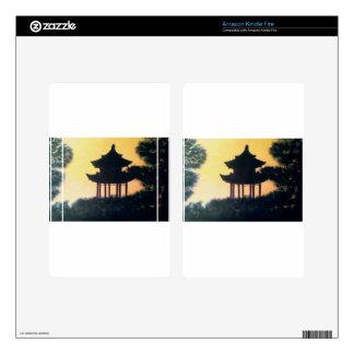 Beautiful Pagoda Silhouette Art Sunset Landscape Skin For Kindle Fire