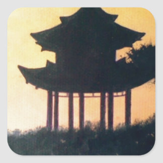 Beautiful Pagoda Silhouette Art Sunset Landscape Square Sticker