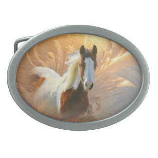 Beautiful Paint Horse Gold Oval Belt Buckle