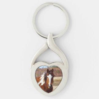 Beautiful Paint Horse Heart Keychain