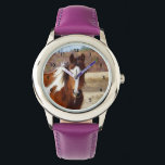 "Beautiful Paint Horse Kids Watch<br><div class=""desc"">Our Paint Horse Stainless Steel Kids Watch has a beautiful portrait of a colorful paint horse. Her name is Fever but she is so cool... what a cute horse face! Horses are magnificent animals and our horse kids watch would make great animal lover or horse lover gifts. The watch can...</div>"