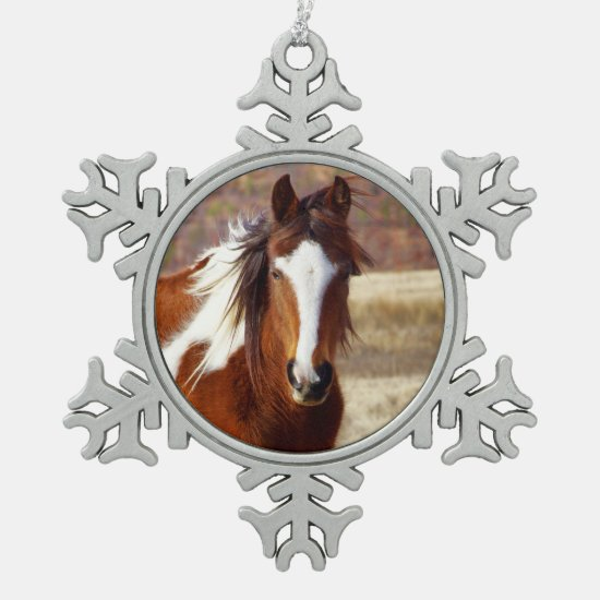 Beautiful Paint Horse Pewter Snowflake Ornament