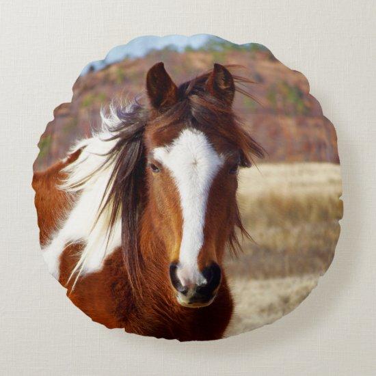 Beautiful Paint Horse Round Pillow