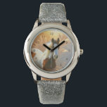 """Beautiful Paint Horse Silver Glitter Watch<br><div class=""""desc"""">Our Paint Horse Silver Glitter Watch for girls has a beautiful portrait of a colorful paint horse with a bright gold background. His name is Max and he is so cool... what a cute horse face! Horses are magnificent animals and our girls watch would make great animal lover or horse...</div>"""