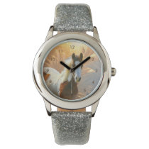 Beautiful Paint Horse Silver Glitter Watch