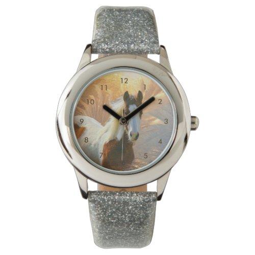Beautiful Paint Horse Silver Glitter Watch