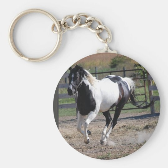 Beautiful Paint Pinto Horse Keychain