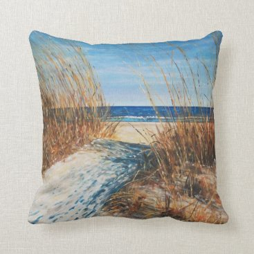 Beautiful Painted Sand Dunes And Beach Painting Throw Pillow