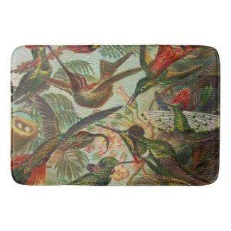 Beautiful Painted Vintage Birds Bath Mat