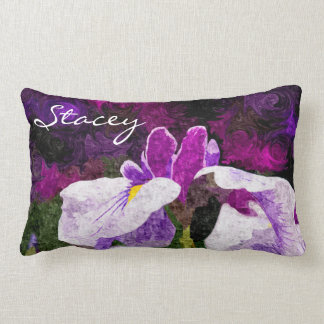 Beautiful Painterly Iris Flower Purple Violet Pink Pillows