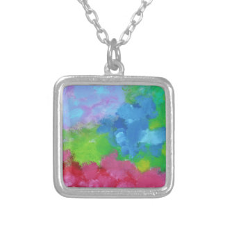 Beautiful, painting-like, joyful mixture of colors personalized necklace