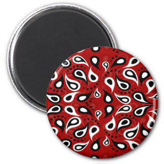 Beautiful Paisley white black and red pattern Magnet