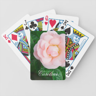 Beautiful pale pink rose personalized name bicycle playing cards