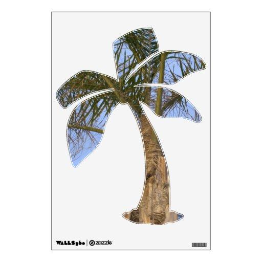 Beautiful palm tree on palm tree shape wall decal zazzle for Beautiful palm tree decal for wall