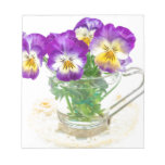 beautiful pansy flowers isolated in a cup note pad