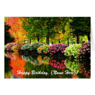 Beautiful Park Autumn Trees Colorful Flowers Pond Card