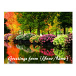 Beautiful Park Autumn Trees Colorful Flowers Pond Post Card