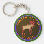 Beautiful Park City Moose Medallion Gear Basic Round Button Keychain