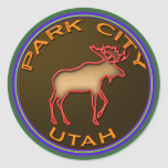 Beautiful Park City Moose Medallion Gear Classic Round Sticker