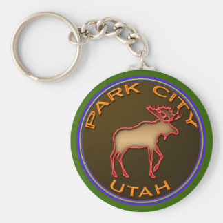 Beautiful Park City Moose Medallion Gear Keychain