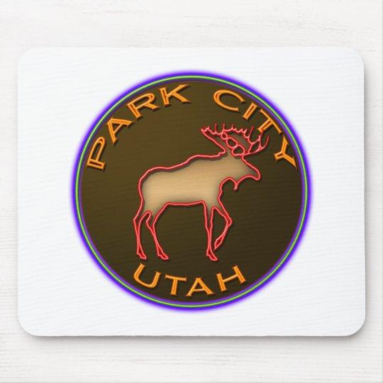 Beautiful Park City Moose Medallion Gear Mouse Pad