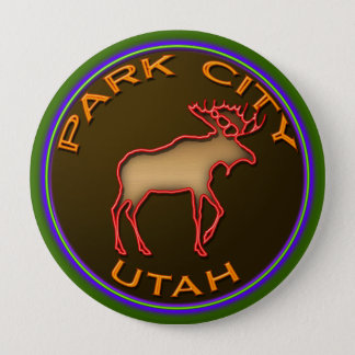 Beautiful Park City Moose Medallion Gear Pinback Button
