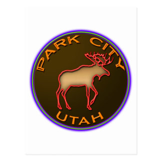 Beautiful Park City Moose Medallion Gear Postcard