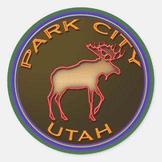 Beautiful Park City Moose Medallion Gear Classic Round Sticker