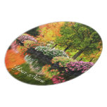 Beautiful Park Colorful Flowers Autumn Trees Pond Dinner Plate