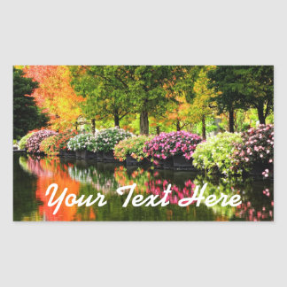 Beautiful Park Colorful Flowers Autumn Trees Pond Rectangular Sticker