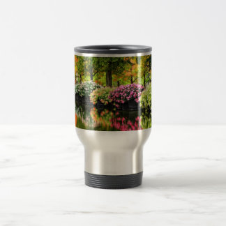Beautiful Park Colorful Flowers Autumn Trees Pond Travel Mug
