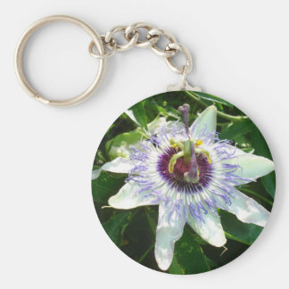 Beautiful Passion Flower With Garden Background Keychain