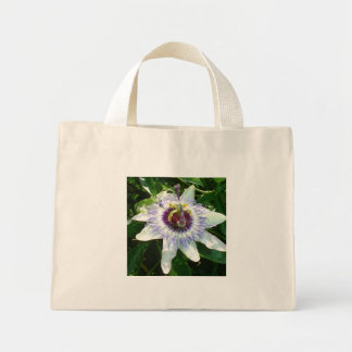 Beautiful Passion Flower With Garden Background Mini Tote Bag