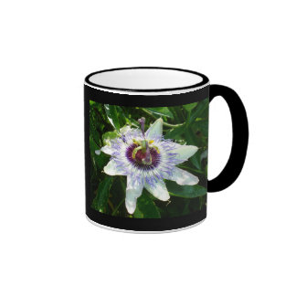 Beautiful Passion Flower With Garden Background Ringer Mug