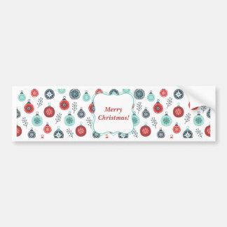 Beautiful Pastel Christmas Hanging Balls and Pine Bumper Sticker