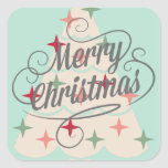 Beautiful Pastel Color Christmas Tree Square Sticker