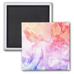 Beautiful Pastel Floral Angel Guardian magnet