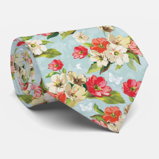 Beautiful Pastel Romantic Cherry Blossom red-cream Neck Tie